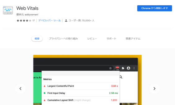 CLS確認方法②:Chromeの拡張機能「Web Vitals」を使う